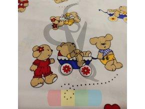 bavlněná látka - medvídci s balónky