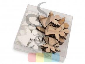 dřevěný anděl - mix barev a velikostí - 24 ks v sadě