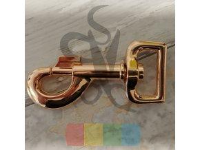 kovová karabina otočná průvlek 25 mm - růžové zlato