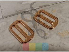 Kovová průvlečná spona pro popruhy 30 mm - růžové zlato