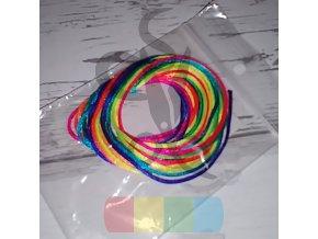 saténová šňůra 1 mm, duhovaná - 3 m