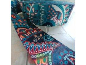 polyesterový popruh 5 cm, vzor INDIE