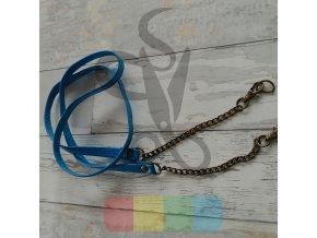 koženkový popruh s mosazným řetízkem - středně modrý