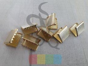 zakončení kovové 15 mm vroubkované, barva zlatá