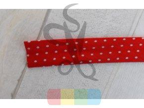 vzorovaná lemovka vzorovaná - 15 mm - bílý puntík na červené