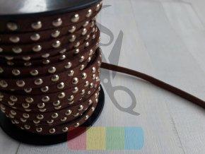 kožený pásek hnědý se zlatými cvočky - 6 mm