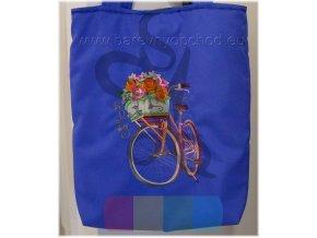 nákupní taška s výšivkou - kolo s kytkama - modrá
