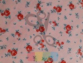 bavlněná látka - okouzlující růže - růžová