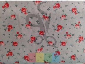 bavlněná látka - okouzlující růže - šedá