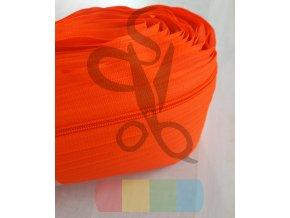 zip spirálový v metráži - 5 mm - neonově oranžová