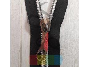 jezdec k metrážovému spirálovému zipu 10 mm - stříbrný s růžovou