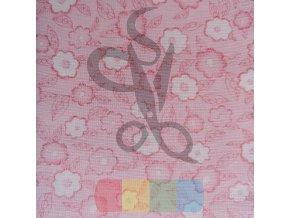 bavlněná látka - rozkvetlé kytičky - růžová