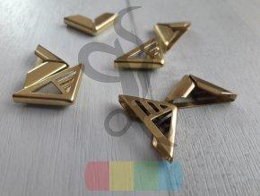 rožek kovový perforovaný 14 x 14 mm, zlatý