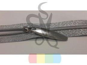 zip spirálový v metráži - stříbrný na stříbrné pásce - 5 mm