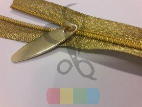 zip spirálový v metráži - zlatý na zlaté pásce - 5 mm