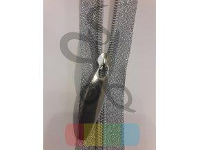 jezdec k metrážovému spirálovému zipu 5 mm - velký - stříbrný