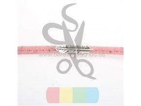 korkový pásek plochý 5 mm - růžový