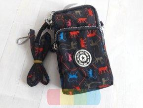 taštička textilní černá s barevnými opicemi - do pasu i crossbody