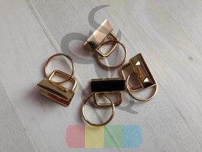 koncovka na klíčenku s kroužkem - zlatá - 25 mm