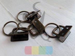 koncovka na klíčenku s kroužkem - mosaz - 25 mm