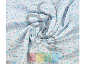 muslin bawelniany serduszka szaro turkusowe na bialym tle