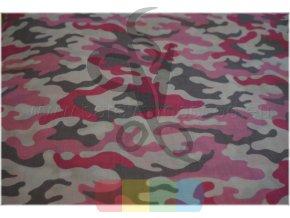 bavlněná látka - maskáč růžový