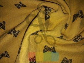 dvojitá gázovina /mušelín - motýlci - barva hořčicová