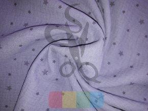 dvojitá gázovina /mušelín - fialová s hvězdičkami