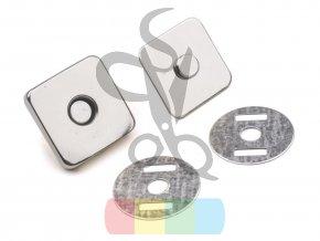 magnetické zapínání 18 x 18 mm čtverec stříbrná