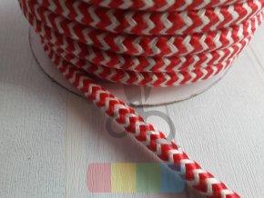 šňůra polyesterová hladká průměr 10 mm, barva červenobílá