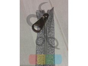 jezdec k metrážovému spirálovému zipu 5 mm - široký - stříbrný