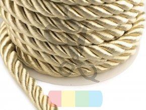 šňůra kroucená, průměr 10 mm,  barva zlatá