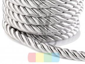 šňůra kroucená, průměr 10 mm,  barva stříbrná
