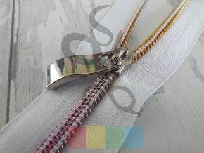 jezdec k metrážovému spirálovému zipu 5 mm - prohnutý - stříbrný