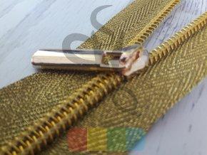 jezdec k metrážovému spirálovému zipu 5 mm - úzký - zlatý