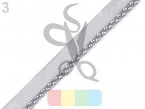 prýmek/paspulka s perlami - barva šedá