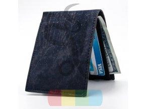 pánská peněženka korková rozkládací - tmavě modrá