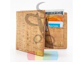 pánská peněženka korková rozkládací - přírodní barva