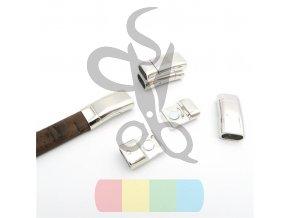 magnetické zapínání pro plochý pásek 10 mm vyšší - stříbrné