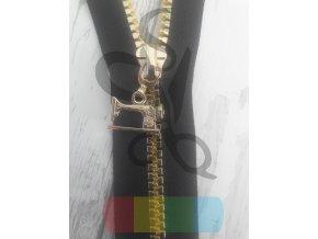 jezdec k metrážovému kostěnému zipu 5 mm- šicí stroj - zlatý