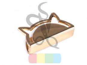 kovový okraj na tašku, peněženku, popruh - kočka - zlatý