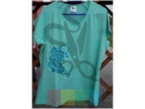 tričko s výšivkou zelené s tygrem - velikost XL