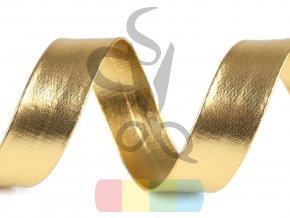 šikmý proužek koženkový šíře 20 mm - zlatý