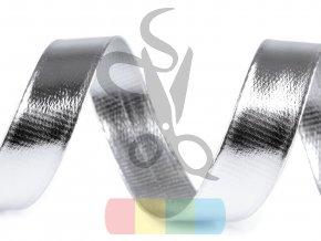 šikmý proužek koženkový šíře 20 mm - stříbrný