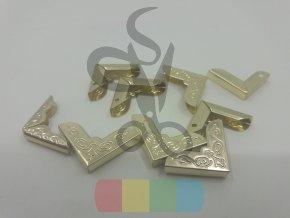rožek kovový ornament 20 x 20 mm, zlatý