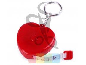 metr krejčovský svinovací- červené srdce