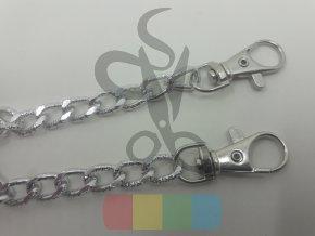 řetízek na kabelky s reliéfem a karabinkami - 120 cm - stříbrný