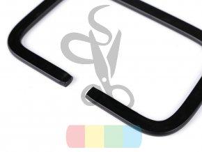 kovová ucha na tašky  obdélník - 7,2x11,2 cm - černé