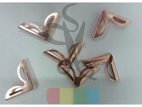 rožek kovový - obloučky 16 x 16 mm - růžové zlato