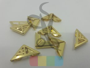 rožek kovový - proužky - 16 x 16 mm - zlatý